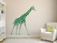Giraffe Wall Decal - Giraffe Wall Decor - Neutral Gender Vinyl Decor - Animal Wall Art Sticker Mural - Children Room Decor CG347