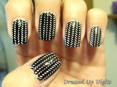 white on black herringbone manicure
