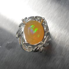 3cts Natural 12x10mm Welo rainbow Opal ring sterling .925 by EVGAD, £69.99