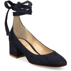 Gianvito Rossi Denim Ankle-Wrap Block-Heel Pumps ($860) ❤ liked on Polyvore featuring shoes, pumps, apparel & accessories, criss cross shoes, ankle wrap pumps, ankle tie shoes, denim pumps and wrap shoes
