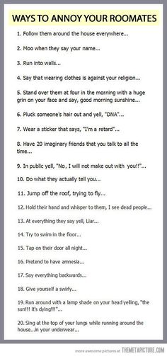 How to annoy your roommates…I call it having children, seeing as my 3 year old does many of these things anyway.