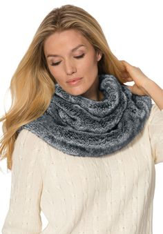 Cozy with a touch of fashion  our reversible funnel neck plus size scarf gives you two looks for one low price! #fashion #style