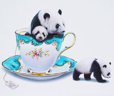 """""""Shrinking Giants"""" - on view for BRINK opening tonight @antlerpdx. 20% of the proceeds will be going to the Audubon Society of Portland to help protect wildlife and their habitats. Pandas are the rarest member of the bear family with just over 1800 left living in the wild thanks to us humans. Let's help bring these Shrinking Giants' numbers back to size! #jacubgagnon #antlergallery #antlerpdx #audubonsocietyofportland #trekell #trekellbrushes #art #painting #acrylic #surrealism…"""