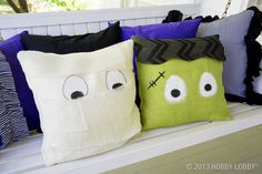 Wrap pillow forms in burlap and paint on some googly eyes for a fun way to freshen up your Halloween decor!