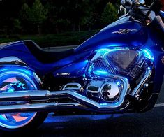 Turn heads as your cruise down the road with your bike decked out in this LED light kit. Each ultra thin strip is extremely flexible for easy installation and can be controlled from a remote to glow in one of sixteen different colors with dimming and fading effects.
