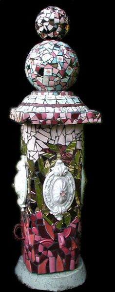 """Pink Totem"" Little Hunter Mosaics by Priscilla Ewing"