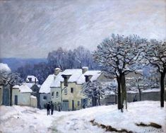 Place du Chenil à Marly, effet de neige en 1876