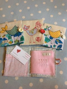 Lovely needle cases with naive birds in pretty prints by Love sewing