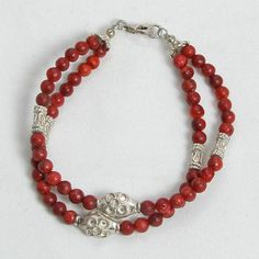 Red Coral Gemstone and Silver Bracelet (B0098)