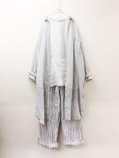 リネンガーゼロングシャツ / light gray | コーディネート|nest Robe ONLINE SHOP