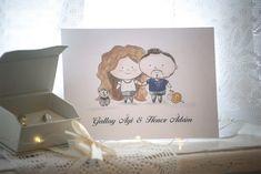 Esküvői meghívó egyedi illusztrációval - Színes emlék Rólatok Place Cards, Place Card Holders