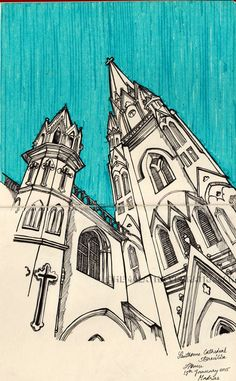 SANTHOME CATHEDRAL | MADRAS SERIES   Pen and Ink and Sketchpen on Moleskine Large Sketchbook    The cathedral is built in Neo-Gothic style with a dazzling spire height of 183' and beautifully worked glass windows. As of the style, it's characterized by strong vertical lines, pointed windows and decorative tracery. The church also has an attached museum for exhibition of relics and other related artifacts.
