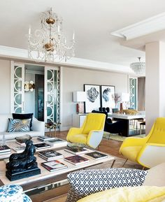 Yellow accent chairs, modern patterns, and a touch of blue | Modern Madrid Home | www.domainehome.com
