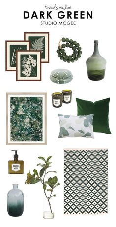 Going green in 2019 with dark green living room decor - The Dishh Living Room Green, Green Rooms, Living Room Decor, Studio Mcgee, Botanical Decor, Home Design, Interior Design, Luxury Duvet Covers, Home Decor Accessories