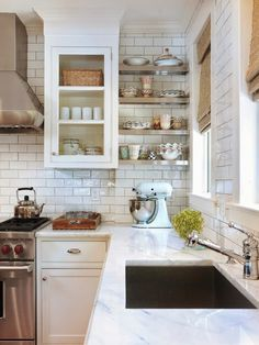 Kitchen with white marble.