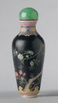 Chinese Snuff Bottle  ~  Flowering Cherry Tree  ~   Qing Dynasty (1644-1911), 18th or 19th century  ~  Artist/maker unknown,   Opaque white glass with enamel decoration; green and brown glass stopper with ivory spoon  ~  3 1/8 x 1 3/16 inches (8 x 3 cm)