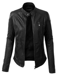 Give your outfit a trendy edgy look with this one of a kind quilted faux leather zip up moto jacket with pockets. Wear it over a basic t-shirt with distressed denim jeans for a casual day out. This mo