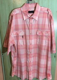 Men's Rocawear Plaid Button Front Short Sleeve Shirt Size 4X | eBay