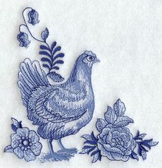 Machine Embroidery Designs at Embroidery Library! - Delft Blue Country Kitchen Corner - Hen