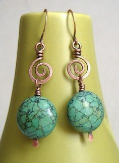 earrings with spirals and stone