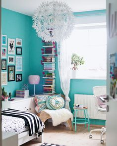 Choose a relaxing base colour – pastels work well. It's much easier to keep your room calm, no matter how many colourful books, ornaments and textiles you add afterwards!