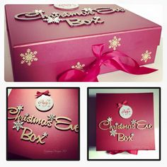 Personalised Christmas Eve box By Epiphany Designs NI also available in silver… Christmas Eve Box For Kids, Wooden Christmas Eve Box, Xmas Eve Boxes, Childrens Christmas Gifts, Personalised Christmas Eve Box, Babies First Christmas, Christmas Crafts, Christmas Decorations, Personalised Bauble