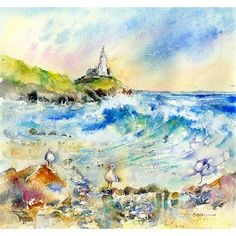 Gower Lighthouse Swansea, Greetings Card By Sheila Gill. | Greetings Cards | Prints | Gift Wrap