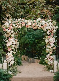 All out Romance Looks a Little Something like This is part of garden Wedding Arch - With floral details at every turn, including a plethora of garden roses and a custom chuppah, this Hotel BelAir wedding is as romantic and glamorous as they come Wedding Ceremony Ideas, Wedding Church Aisle, Wedding Arch Flowers, Wedding Altars, Floral Wedding, Wedding Arches, Trendy Wedding, Summer Wedding, Pew Flowers