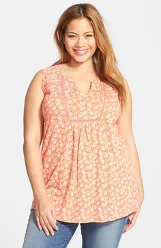 Free shipping and returns on Lucky Brand 'Broken Arrows' Linen Blend Split Neck Tank (Plus Size) at Nordstrom.com. An inset of delicate crochet work outlines the bib and back yoke of a printed knit tank relaxed with front and back pleating.