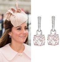 March 9, 2015, The Duchess of Cambridge wore a new pair of earrings to the Commonwealth Day Celebration. Kiki McDonough pink morganite cushion drop earrings on white gold hoops.