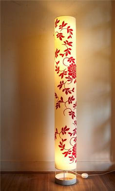 Colourful shoji paper floor lamp lights lamps homedecor big flowers tube floor lamp crafted in fabric mozeypictures Gallery