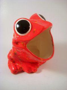 Vintage Ceramic Frog Sponge Holder, Firecracker Red. $22.00, via Etsy.