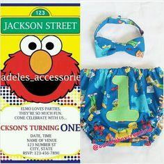 Elmo/Sesame Street Bow-tie and Diaper Cover w/ Birthday Invitation, Sesame Street, diaper cover, birthday invitation, Elmo diaper cover - pinned by pin4etsy.com