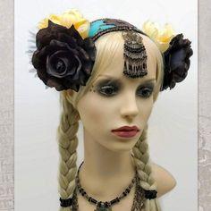 Tribal Fusion Headdress, Festival Headpiece  #FlowersHeadpiece #TribalFusion #BohoHeadband  #TribalBellyDance #FestivalHeaddress