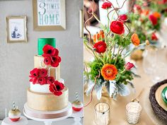 Wow, I just love the gold on the cake with poppies and ranunculus flowers!