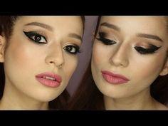 Neutral Glitter Ombre Cat Eye #TUTORIAL #howto #makeup - bellashoot.com