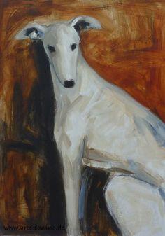 Acrylic on canvas, 70 x 50 cm Painting Portraits, Animal Portraits, Animal Paintings, Dog Illustration, Illustrations, Greyhound Art, Dog Artwork, Colour Photography, Lurcher