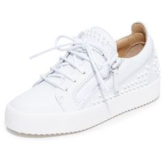 Giuseppe Zanotti Maylondonsc Sneakers (3.495 RON) ❤ liked on Polyvore featuring shoes, sneakers, basket, white, laced up shoes, leather sneakers, white platform sneakers, leather shoes and white shoes