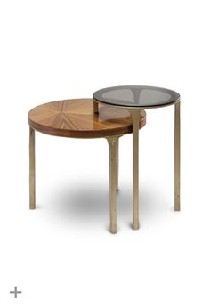LURAY Side Table | BRABBU  Contemporary Side Table, Casegoods, aged brass, glossy palisander veneer, bronze glass http://www.brabbu.com/casegoods/luray-side-table.php