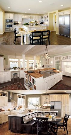 kitchen island ideas Extra große Kücheninsel mit Sitzgelegenheiten It's not out of the question that Modern Kitchen Island, Kitchen Island With Seating, Modern Kitchen Cabinets, Rustic Kitchen, Kitchen Furniture, New Kitchen, Kitchen Decor, Kitchen Islands, Large Kitchens With Islands