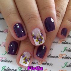 56 Ideias Unhas Decoradas com Flores Vintage Nail Polish Designs, Acrylic Nail Designs, Nail Art Designs, Acrylic Nails, Manicure Set, Pedicure, Hair And Nails, My Nails, Flower Nail Art
