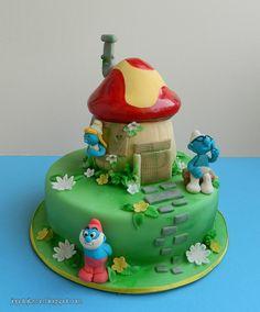 Smurfs cake by Cakes by Pixie Pie, via Flickr