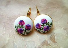 Hydrangea garden polymer clay flowers earrings Purple earrings