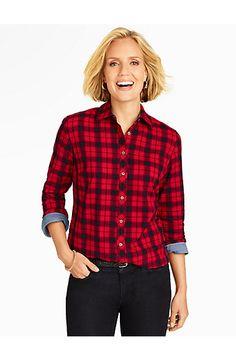 Talbots - Brushed Twill Festive Plaid Shirt   Blouses and Shirts   Petites