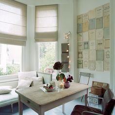 papers hanging on the wall