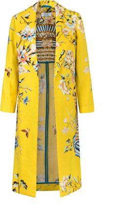 Maison Alma Exclusive Floral-Print Linen Coat Fashion Fabric, Fashion Prints, Fashion Design, Yellow Fashion, Mellow Yellow, Fashion 2020, Madrid, Textile Design, Mantel