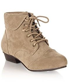 Women's Pointy Toe Oxford Low Chunky Heel Lace Up Ankle Bootie Boots With Collar Flip Over BEIGE SUEDE (9)
