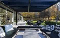 Locarno Louvre Roof Systems by Locarno Louvres Louvered Pergola, Outdoor Rooms, Outdoor Decor, Roofing Systems, Beams, Louvre, Exterior, Patio, Architecture