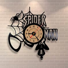 Spiderman art vinyl wall record clock by Vinylastico on Etsy