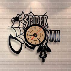Spiderman art vinyl wall record clock by Vinylastico on Etsy